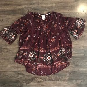 Bell Sleeve Patterned Top